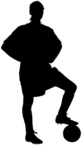 Black silhouette of a personplaying soccer