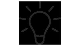 Graphic represents a light bulb