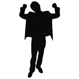 Black silhouette of a personstanding and raising their handsin celebration