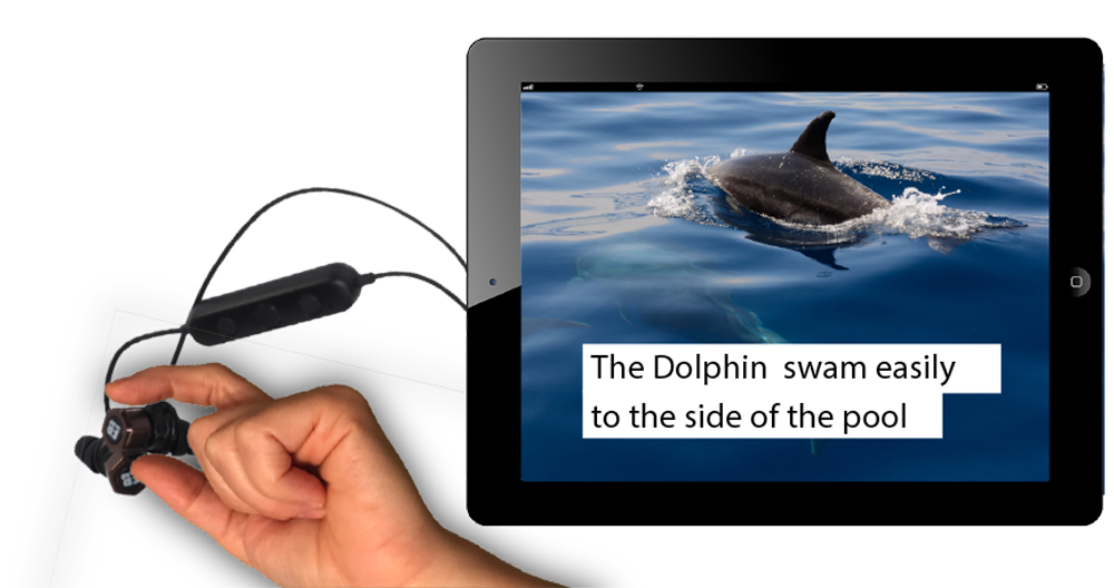 Tablet with earbuds attachedshowing image and text of adolphin
