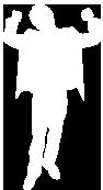 White silhouette of a teacherraising their arms in celebration