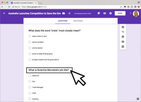 Screenshot of Quizbot quiz on Google Chrome with purple background