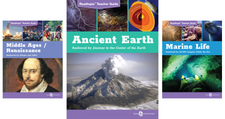 Three Readtopia thematic unit covers Middle Ages/Renaissance, Ancient Earth, Marine Life