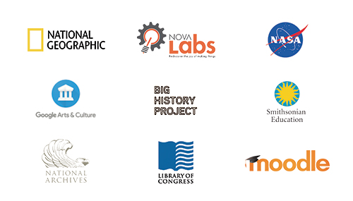 Logo images for nine different educational companies