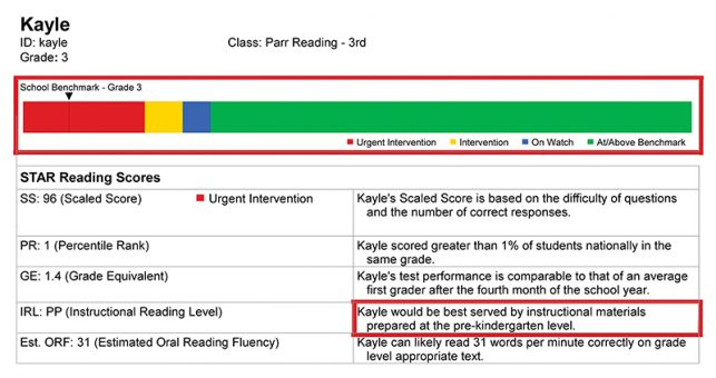 Kayle's STAR Reading Scores.