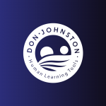 White Don Johnston Human Learning Tools logo over blue background