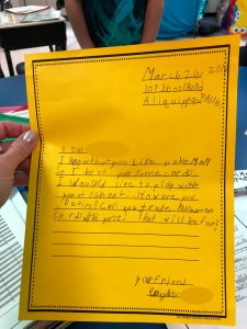 Example of a letter written by a child