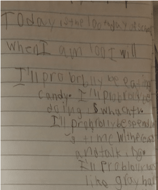 Dysgraphia Writing Sample