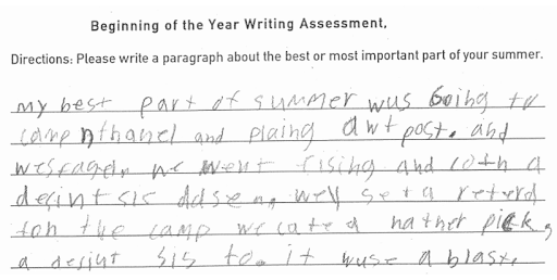 Beginning of the year writing assessment example