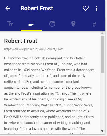 Word Bank generated summary on the life of poet Robert Frost