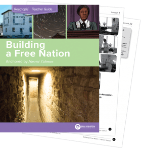"Cover of Readtopia Teacher Guide ""Building a Free Nation, Anchored by Harriet Tubman"""