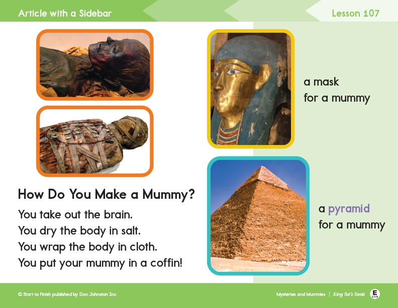 Mummy Lesson Example from Readtopia Level 1-2